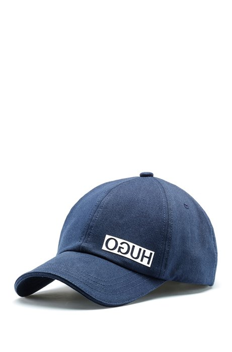 Cotton-gabardine cap with reversed logo, Dark Blue