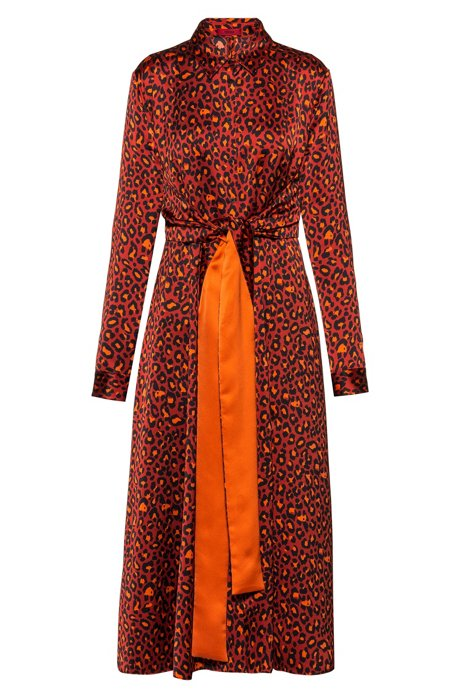 Leopard-print shirt dress with integrated belt, Patterned