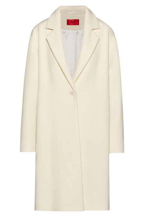 Relaxed-fit single-button coat in a wool blend, Natural