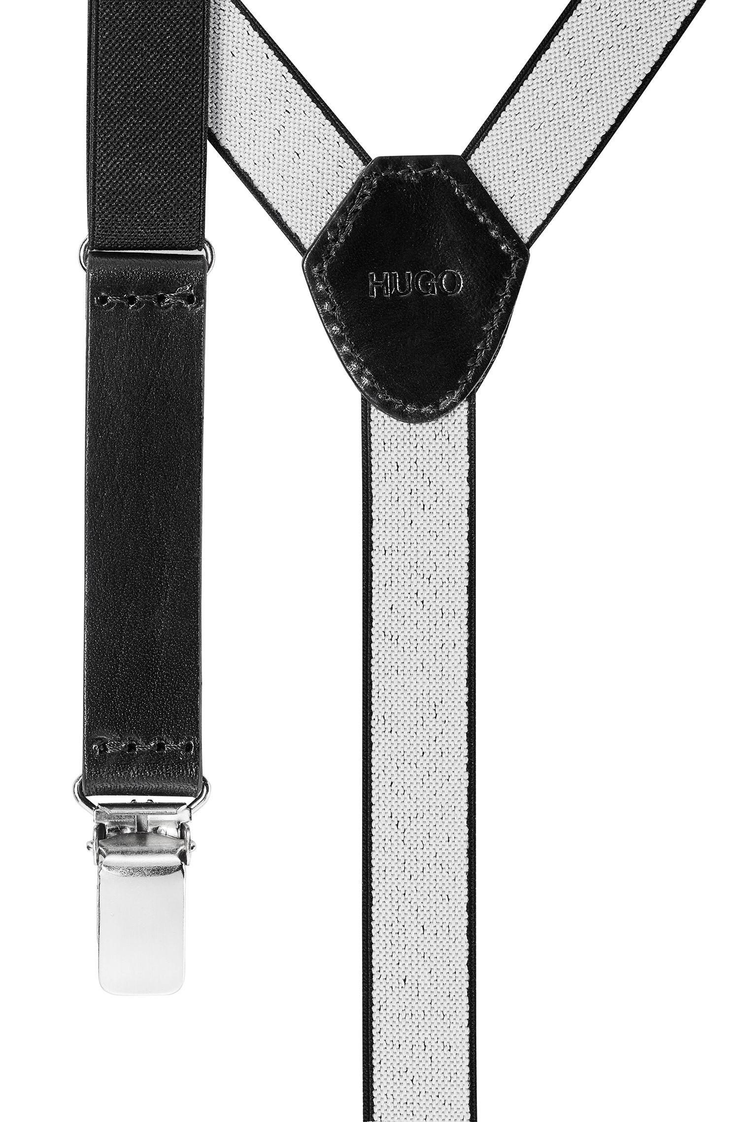 Bretelle elastiche con rifiniture in pelle, Nero