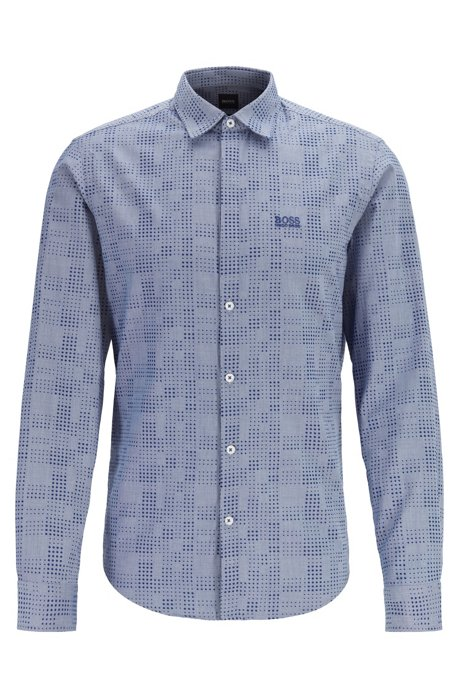 Regular-fit patterned shirt with polo-style placket, Blue