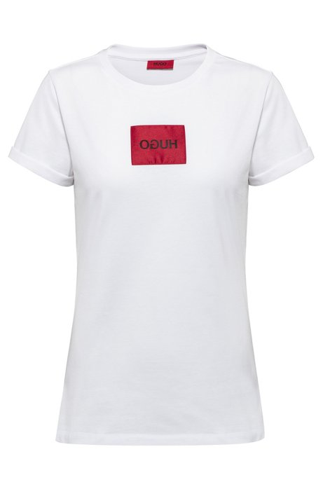 T-shirt Slim Fit avec patch à logo inversé, Blanc