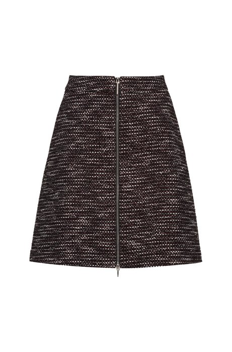Regular-fit rok in tweed met rits aan de voorkant, Bedrukt