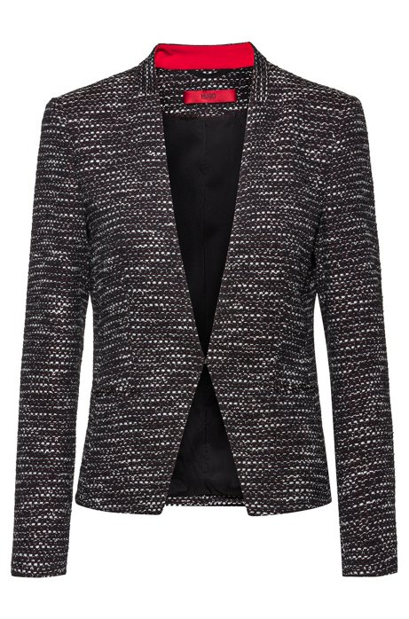 Regular-fit jacket in a structured cotton blend, Patterned