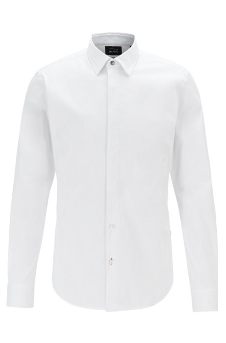 Camisa slim fit en popelín de algodón exclusivo, Blanco