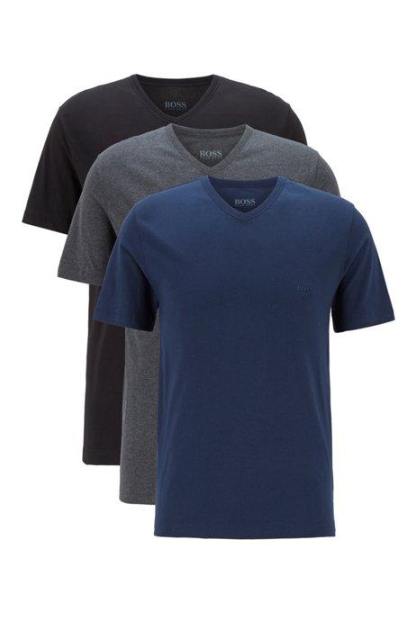Set van drie underwear T-shirts met V-hals en logostiksel, Black / Grey / Blue