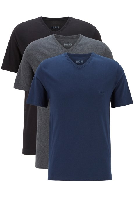 Three-pack of V-neck underwear T-shirts with embroidered logo, Open Blue