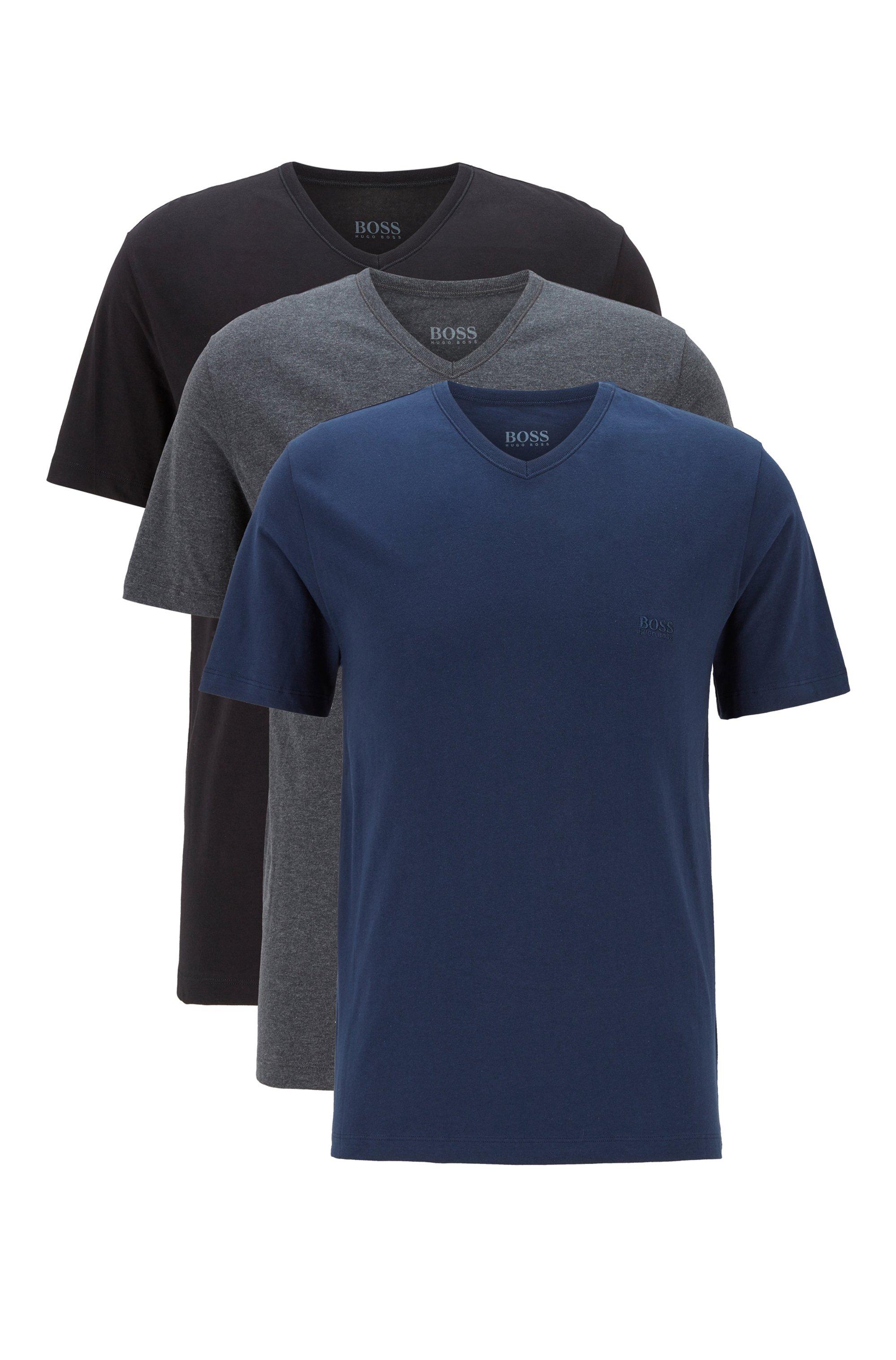 Magliette intime con scollo a V e logo ricamato in confezione da tre, Nero / Grigio / Blu