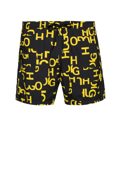 Quick-dry swim shorts with abstract logo print, Patterned