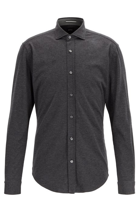 Slim-fit shirt in melange jersey, Dark Grey