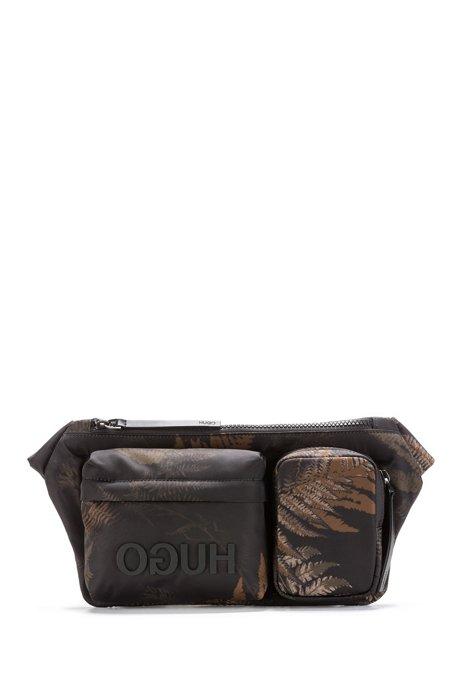 Reverse-logo belt bag with leaf print, Patterned