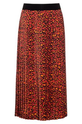 Regular-fit skirt in leopard print with plissé pleats, Patterned