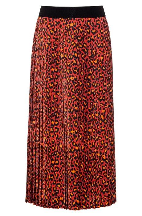 Regular-fit rok met luipaardprint en plisséplooien, Bedrukt