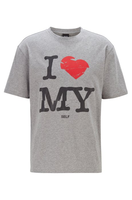 Relaxed-fit jersey T-shirt with slogan print, Light Grey
