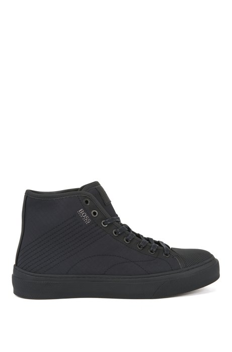 High-top trainers in ripstop nylon with stitching detail, Black