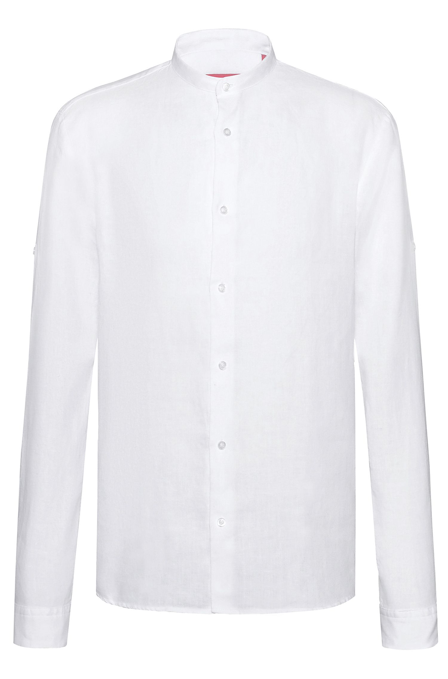 Camisa relaxed fit en lino con mangas remangadas, Blanco