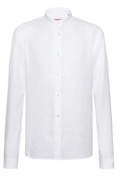 Relaxed-fit shirt in linen with roll-up sleeves, White