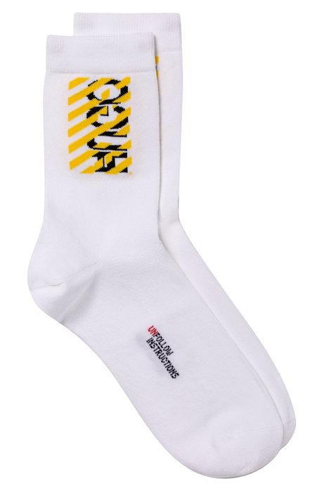 Quarter-length socks with deconstructed logo and slogan detail, White