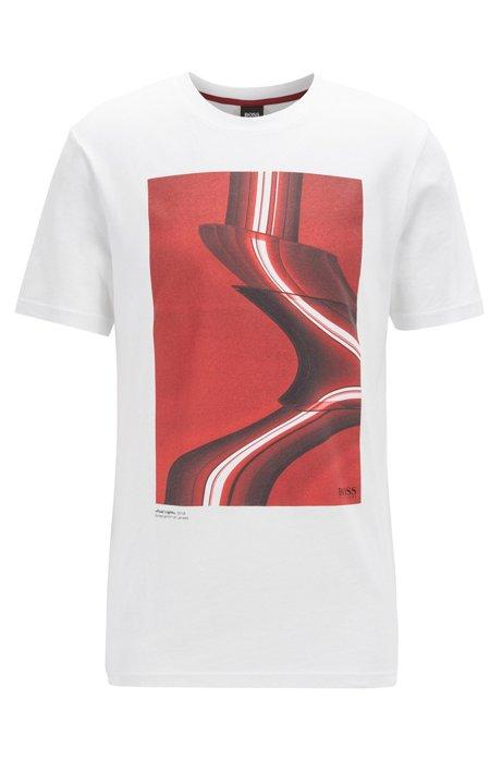 T-shirt en coton Recot2® écoresponsable à imprimé photo, Blanc