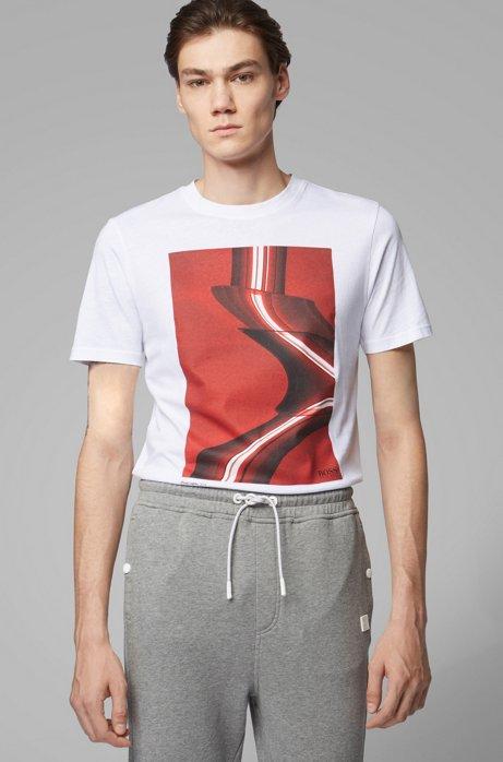 T-Shirt aus umweltfreundlicher recot2®-Baumwolle mit Foto-Print, Weiß