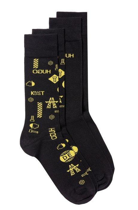 Two-pack of regular-length socks with reverse logo, Black