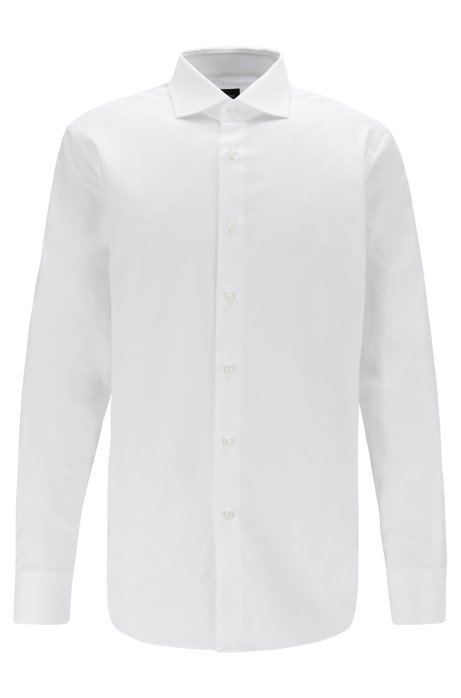 Regular-fit shirt in micro-structured Italian cotton, White