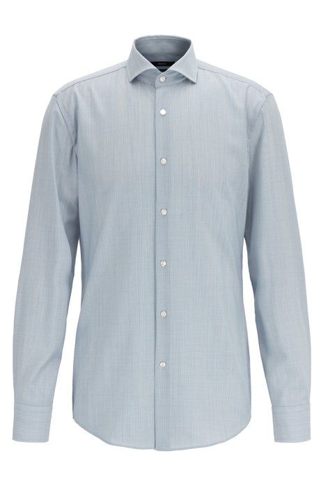 Striped slim-fit shirt in traceable merino wool, Blue