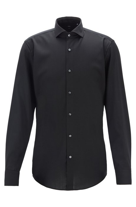 Slim-fit shirt in traceable merino wool, Black