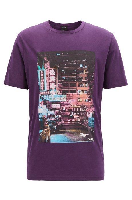 T-Shirt aus Pima-Baumwolle mit Foto-Print, Dunkel Lila