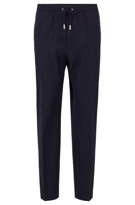 Pantalon de défilé à cordons de serrage en laine vierge mélangée, Bleu foncé