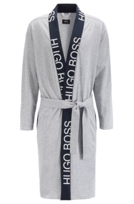 Belted dressing gown in cotton with cut-logo trim, Grey