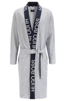 Robe de chambre en coton à ceinture et logo découpé, Gris