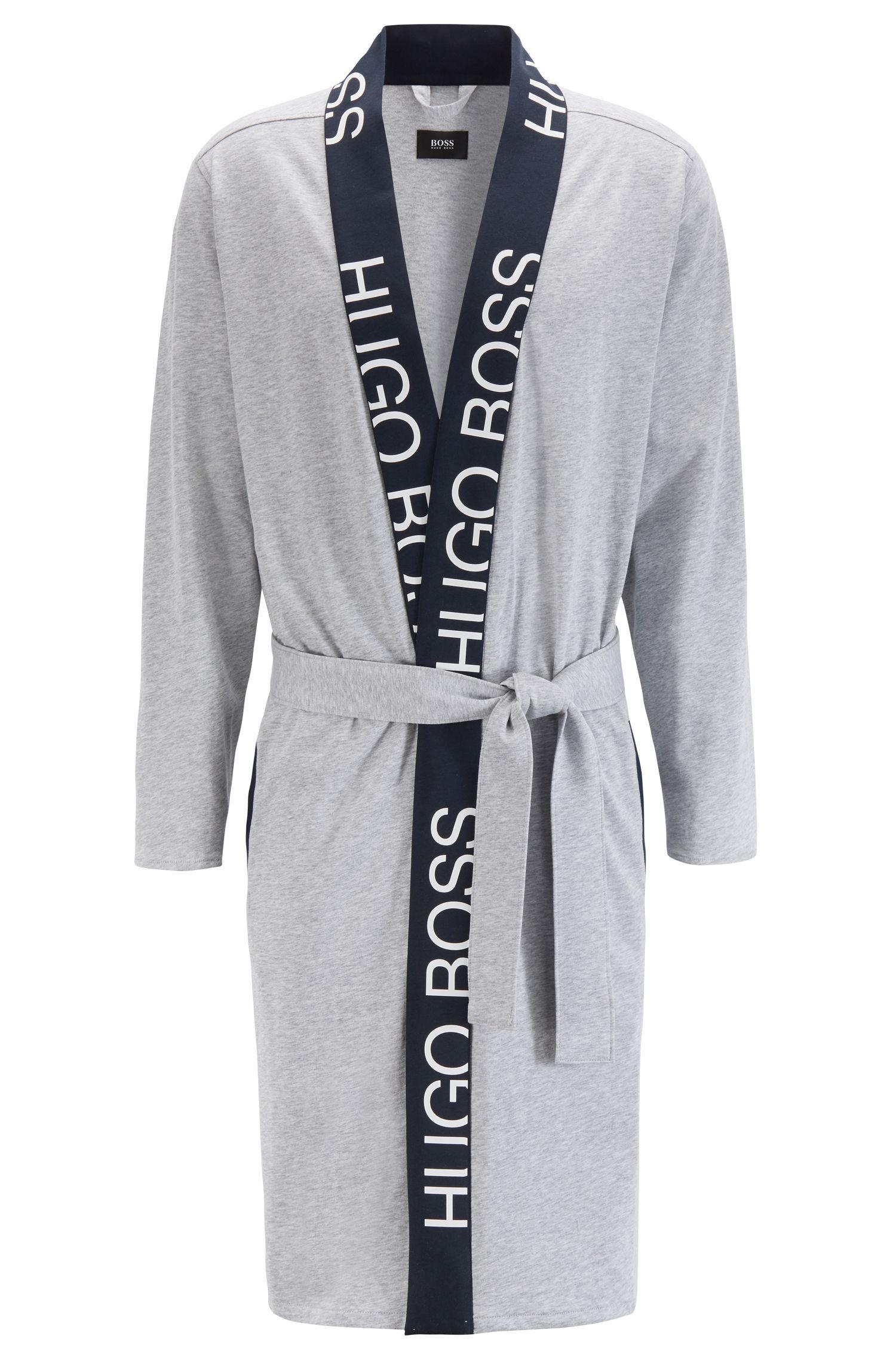 Morgenmantel aus Baumwolle mit Gürtel und abgeschnittenem Logo-Detail, Grau