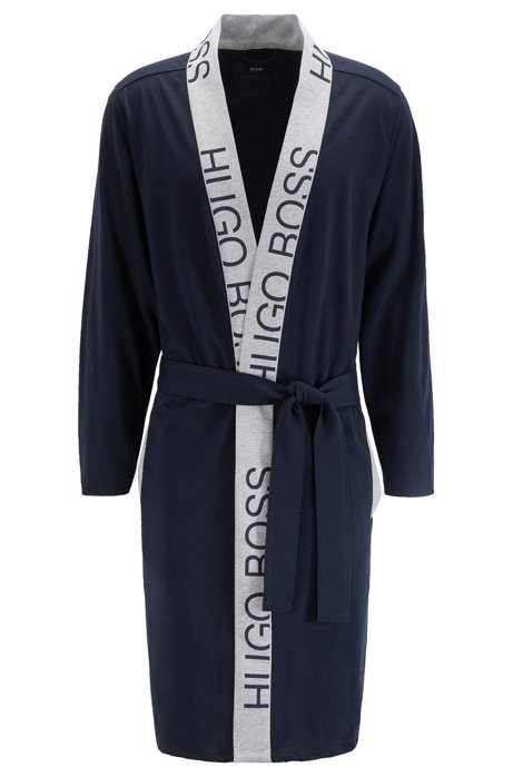 Belted dressing gown in cotton with cut-logo trim, Dark Blue