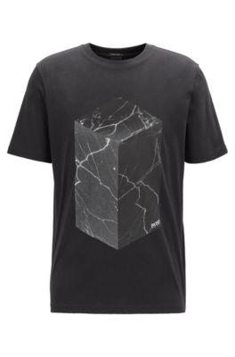 Baumwoll-T-Shirt mit wasserbasierten und Gel-Prints, Schwarz