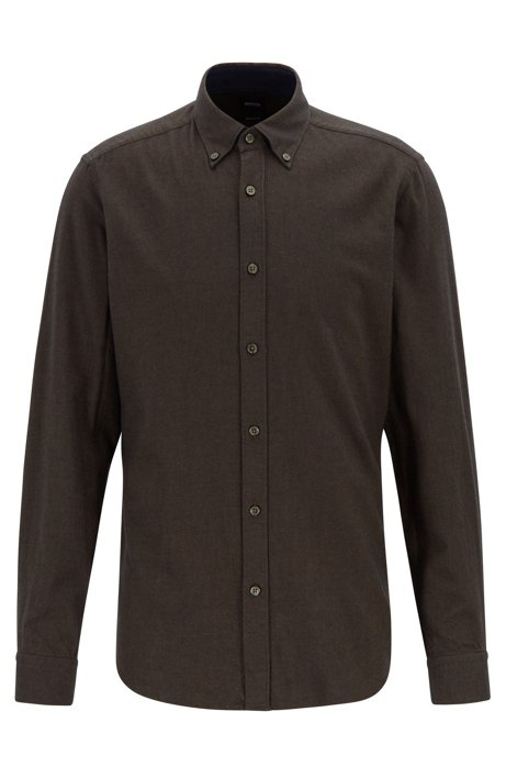 Regular-fit shirt in pure-cotton flannel, Open Green
