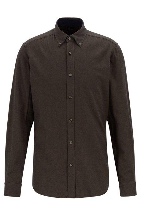 Regular-fit overhemd in flanel van zuivere katoen, Kalk