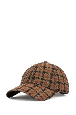 Cappellino pied-de-poule con rivestimento idrorepellente, Marrone