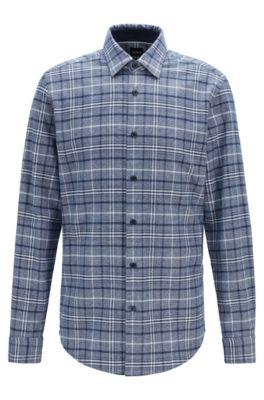 Kariertes Regular-Fit Hemd aus meliertem Baumwoll-Mix, Dunkelblau