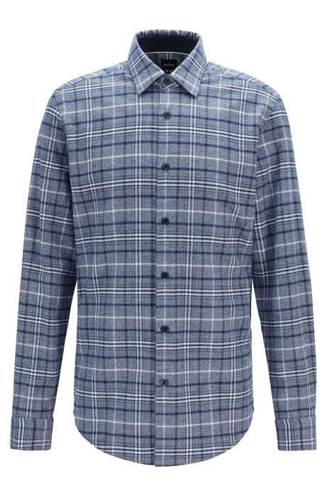 Regular-fit geruit overhemd van een mouliné katoenmix, Donkerblauw