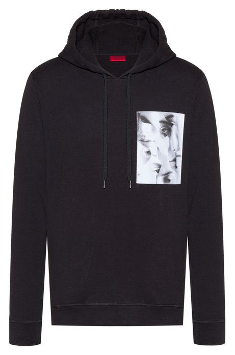 Relaxed-fit hooded sweatshirt with photo-print patch, Black