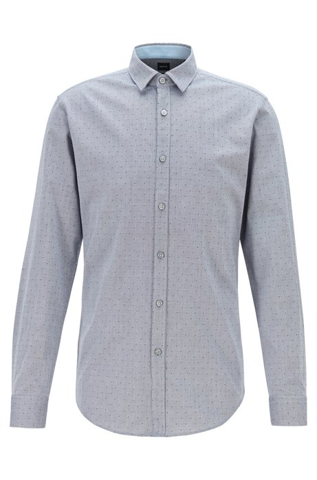 Slim-fit shirt with dobby pattern on Oxford cotton, Grey