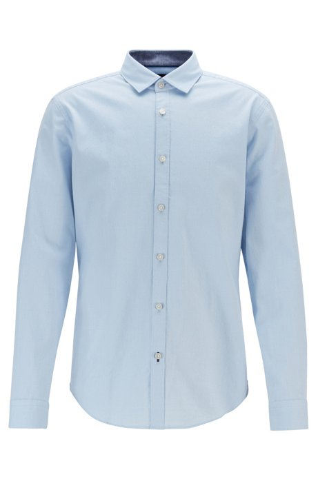 Slim-fit shirt with dobby pattern on Oxford cotton, Light Blue