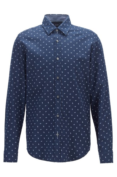 Regular-fit shirt with multi-coloured print on dobby cotton, Dark Blue