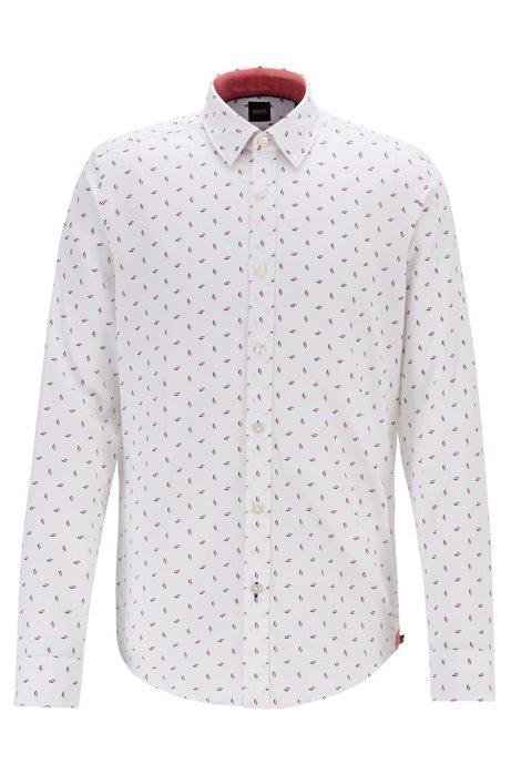 Camicia regular fit in cotone dobby con stampa multicolore, Rosso