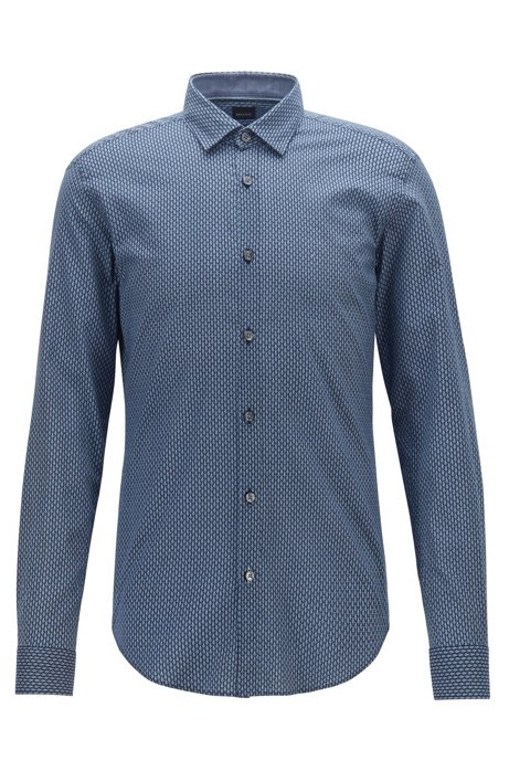 Slim-fit shirt in cotton muslin with bicycle print, Dark Blue