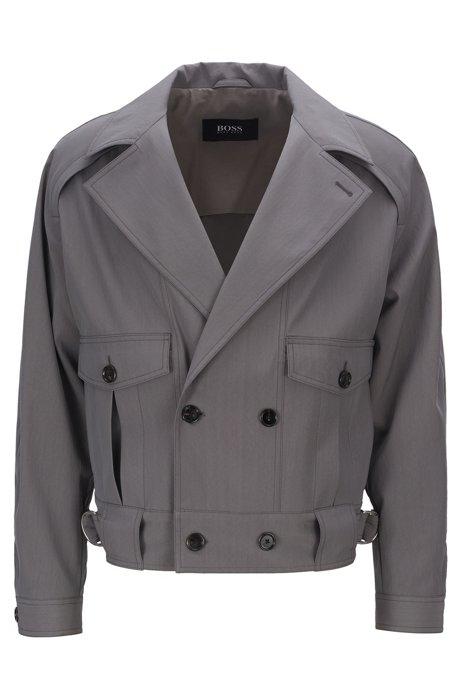 Zweireihige Fashion Show Jacke aus elastischem Schurwoll-Mix, Grau