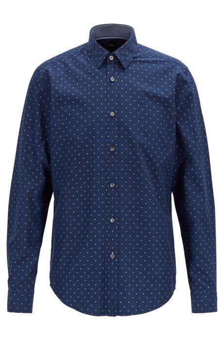 Regular-fit shirt in fil coupé cotton, Dark Blue