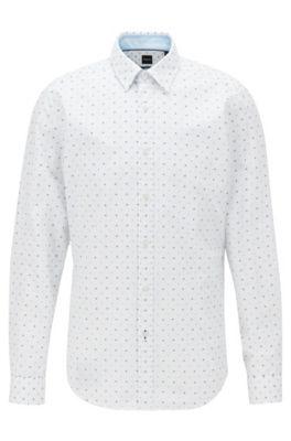 Regular-fit shirt in fil coupé cotton, Light Blue