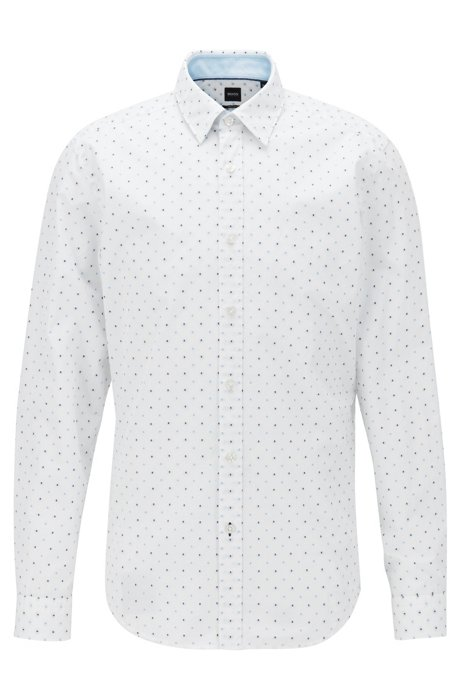 Regular-fit shirt in fil coupé cotton, Light Blue